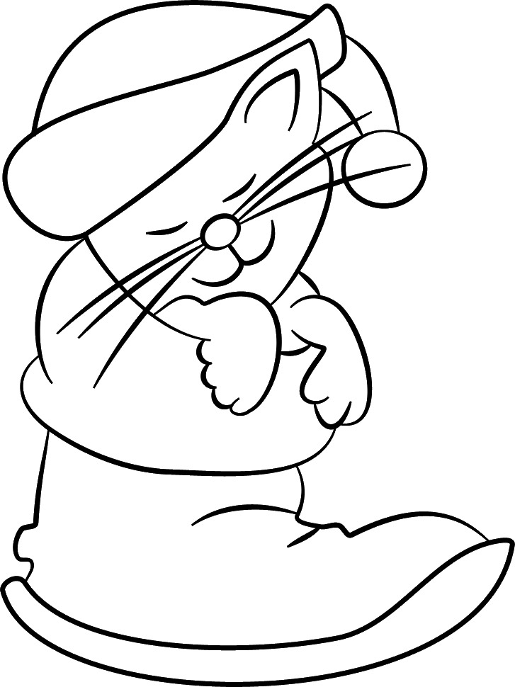 christmas cat coloring pages - photo#22