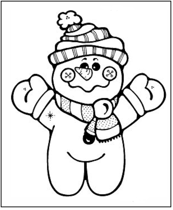 winter coloring pages snowman free - photo#13